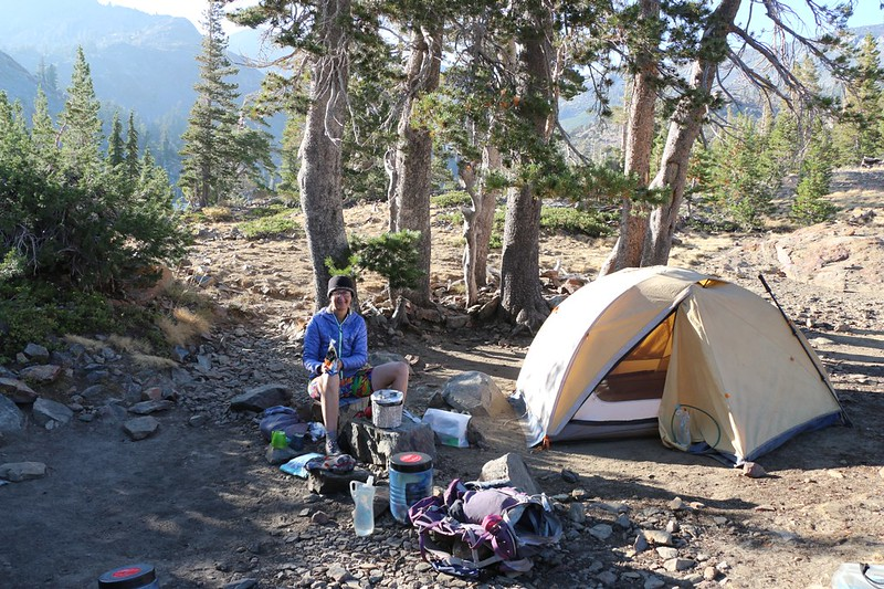 Our tent and campsite on the east side of Susie Lake - looks like dinner is ready!