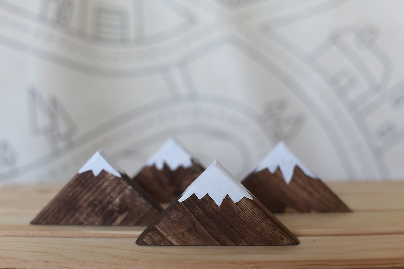 we made mountians with our leftover wood corners