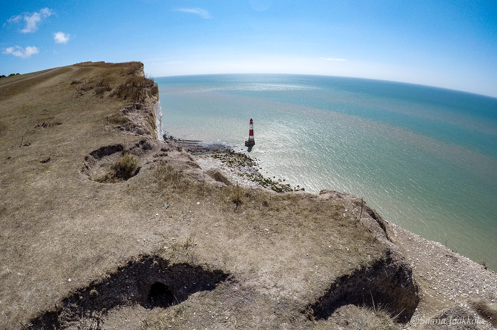 The signs of erosion are visible at Beachy Head, England