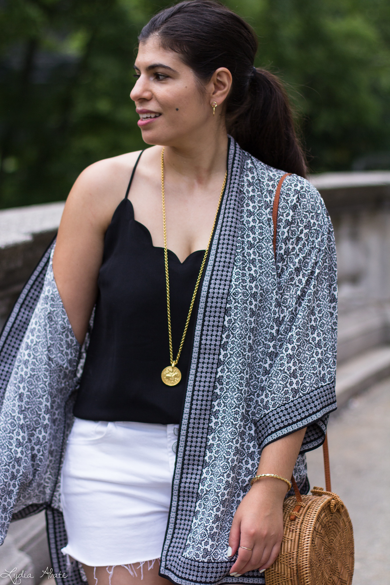 Black and White Kimono, Denim Cut-off Shorts, Round Straw Bag-8.jpg