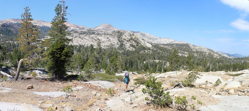 It's hot in the sun as we climb the exposed granite on the Velma Lakes Trail