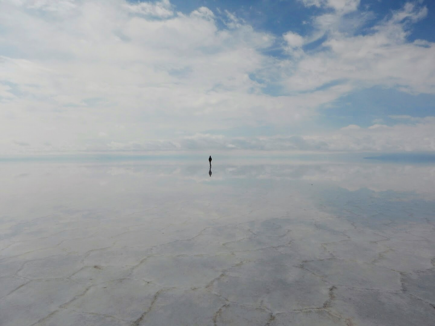 A lone wanderer on the Salar