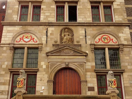 Justice. 'The Rule of Law Preserves the Commonwealth', Old Town Hall, Brouwershaven, Schouwen-Duiveland, The Netherlands