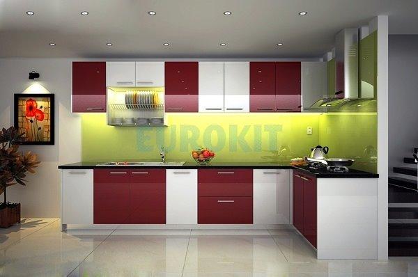 Mẫu tủ bếp Acrylic đẹp cho phòng bếp hiện đại