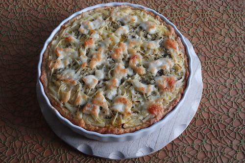 Kürbis-Zwiebel-Käse-Crostata (gerade aus dem Backofen)