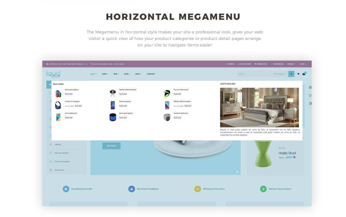horizontal mege menu - gadgets and digital store