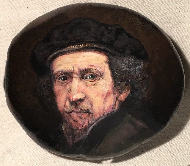 """Rembrandt 1659 Self-Portrait"" painted rock"