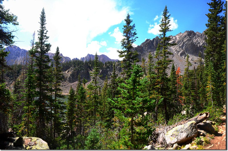 Looking down at Salmon Lake from the trail