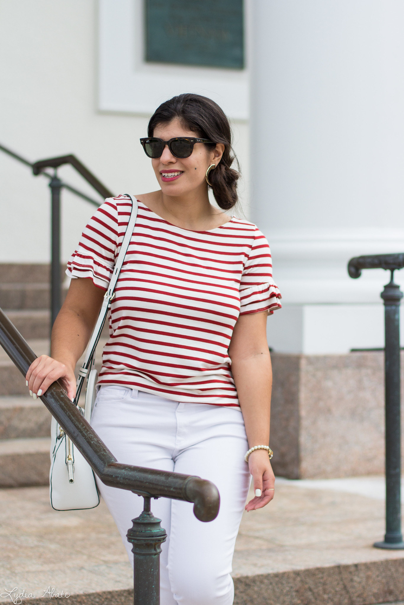 striped ruffle sleeve tee, white jeans, blue loafers, white bag-7.jpg