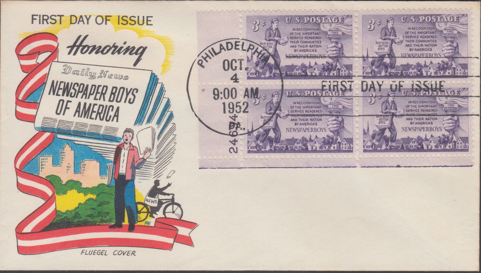 United States - Scott #1015 (1952) first day cover, Fleugel cachet