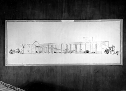 Detalhe de projeto arquitetônico na Exposição Nacional do Estado Novo