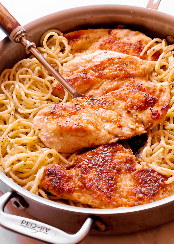 Super Fast Chicken Spaghetti in Creamy Marsala Wine Sauce