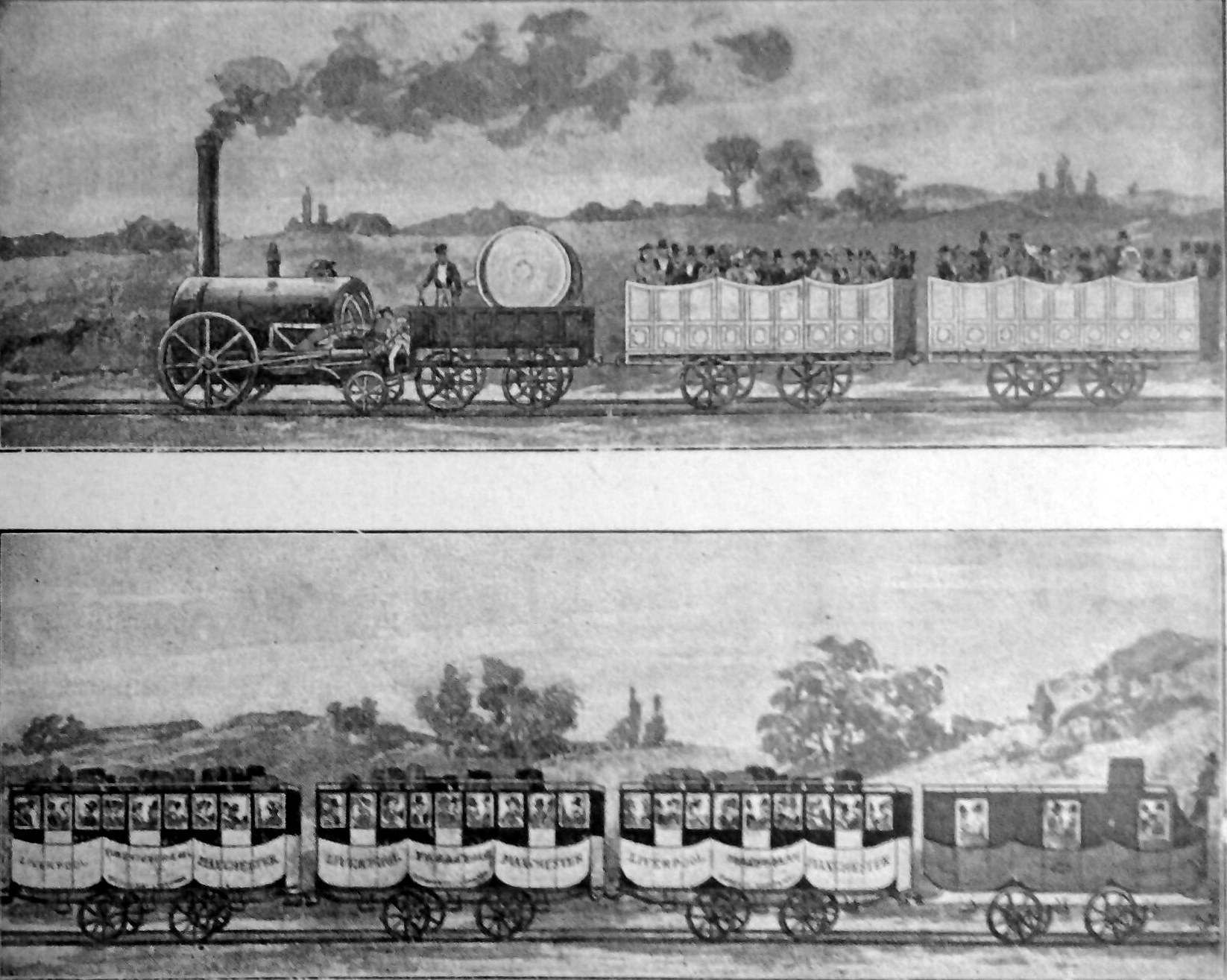 The Liverpool & Manchester Railway, 1830, from an engraving made in 1910.