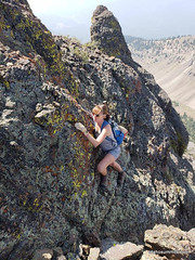 Carrie on the crux of Rip and Tear Peak