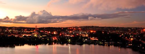 sunset skyline dusk city water lake germiston sky boat cloud