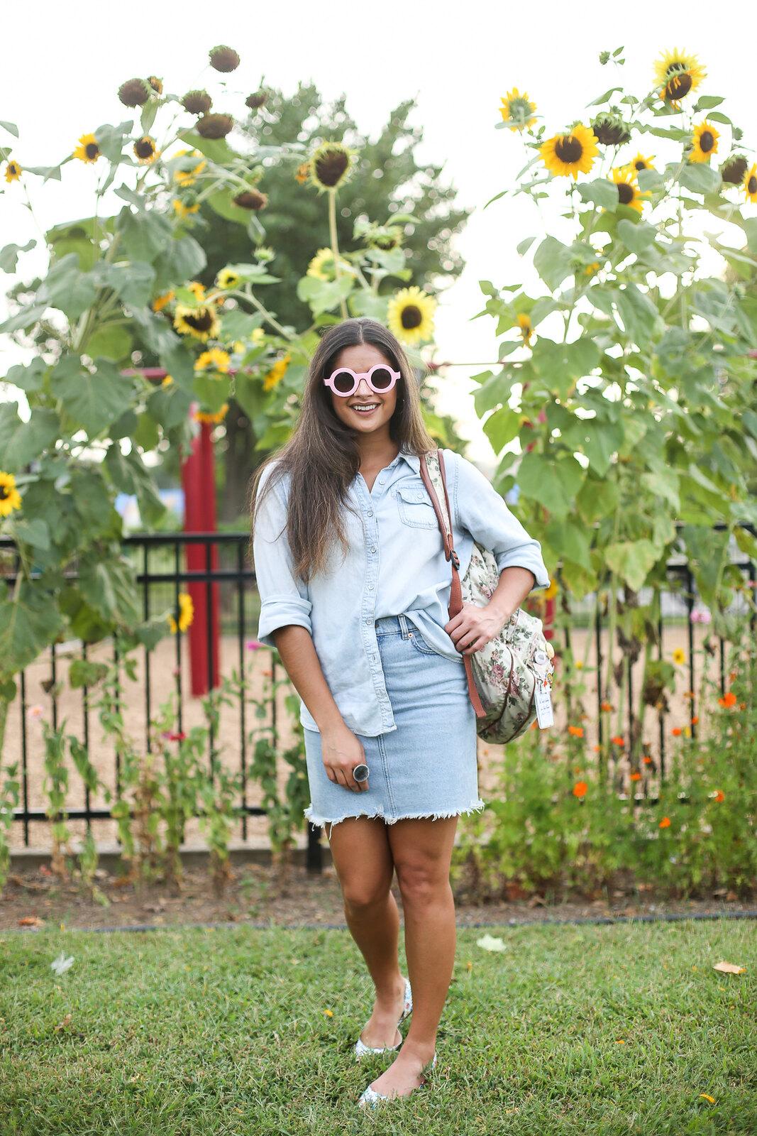 Priya the Blog, Nashville fashion blog, Nashville fashion blogger, Nashville style blog, Nashville style blogger, chambray Summer outfit, Sunflower tuxedo, Canadian tuxedo for Summer, Sunflower outfit shoot, denim on denim for Summer, floral backpack