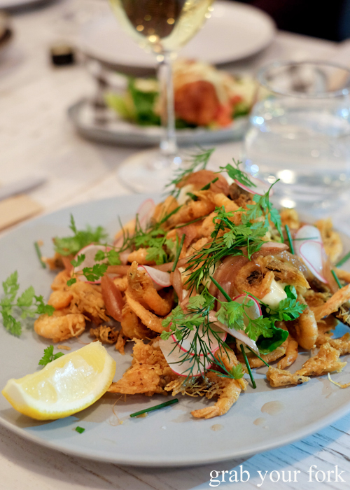 Fried school prawns at Fich seafood restaurant in Petersham Sydney