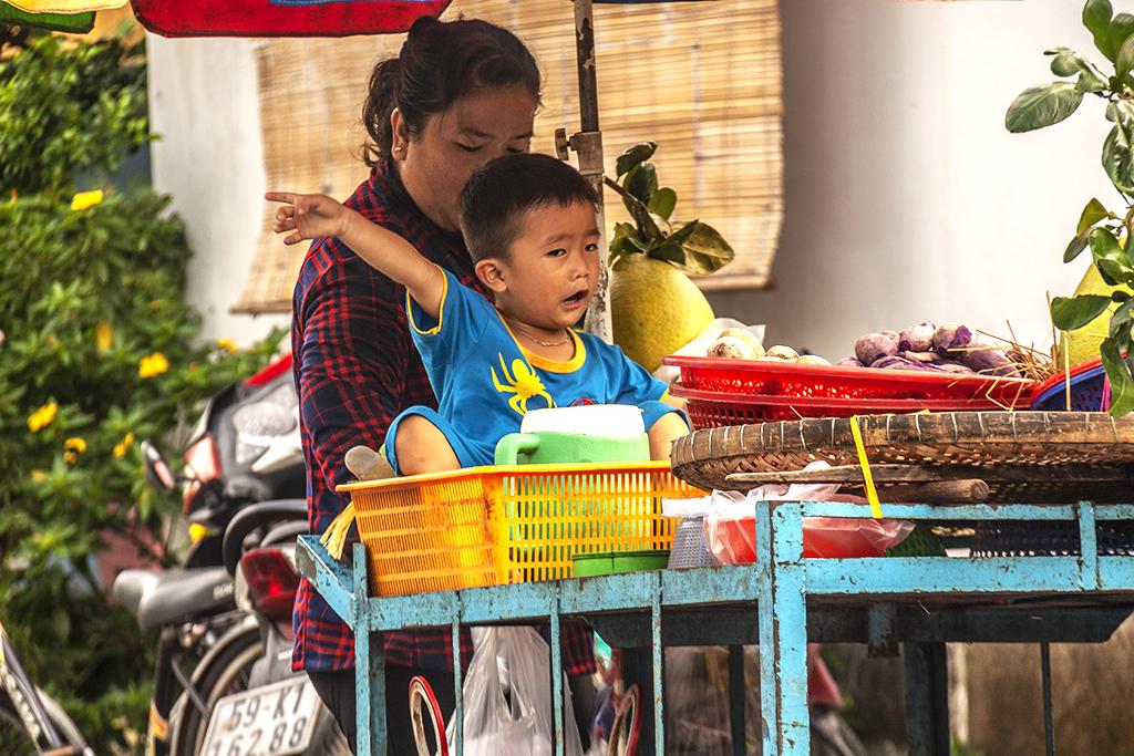 Toddler on push cart--Saigon