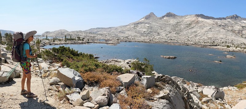 The Pacific Crest Trail follows the shore of Lake Aloha for over 1.5 miles - it's a very large lake