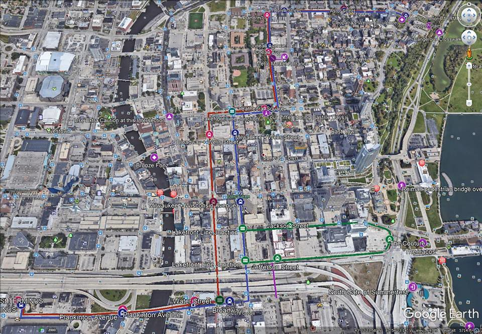 MKE Streetcar--The HOP: Map and Google Earth Information about the ...