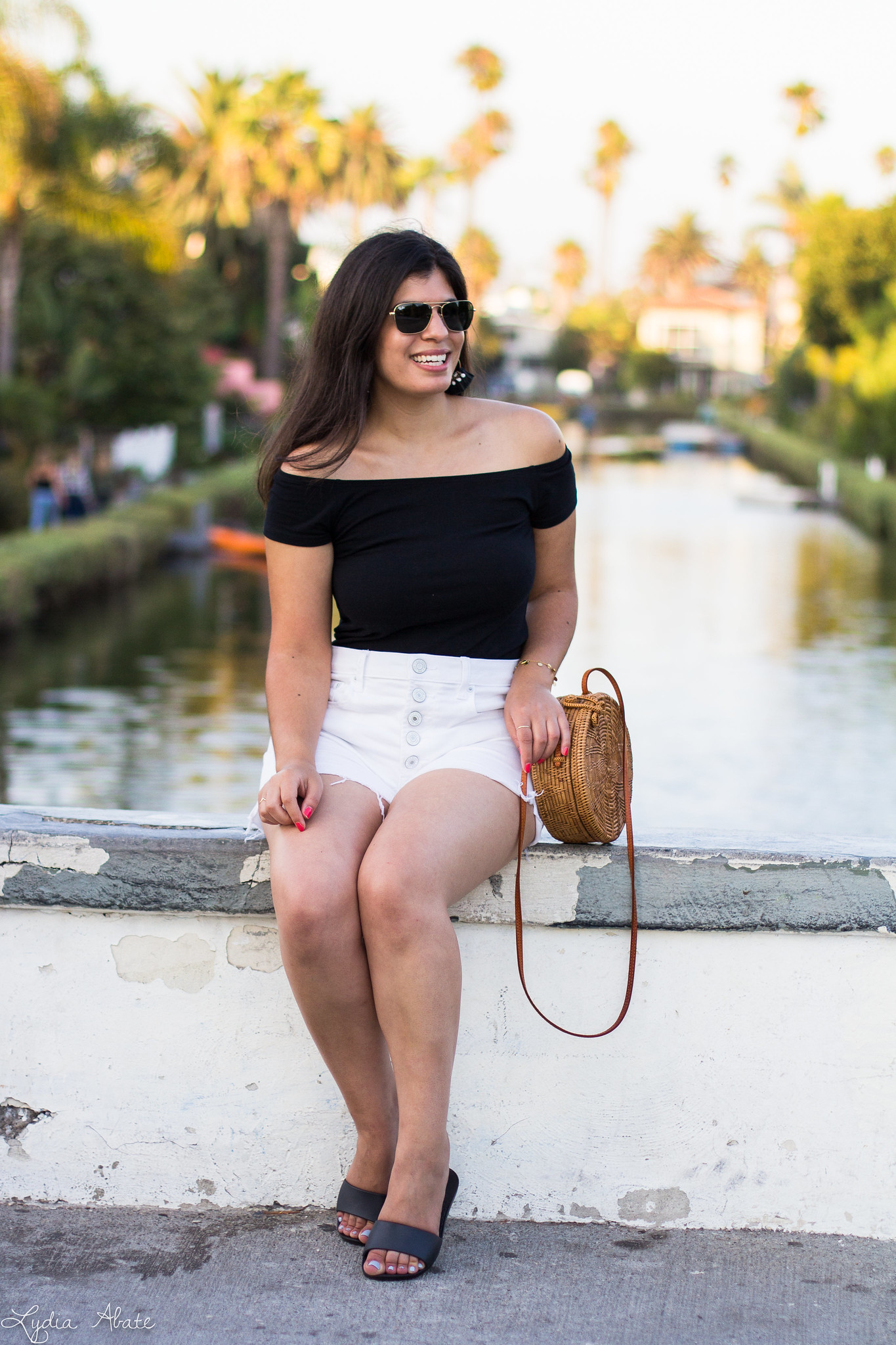 black off the shoulder top, white button fly shorts-1.jpg