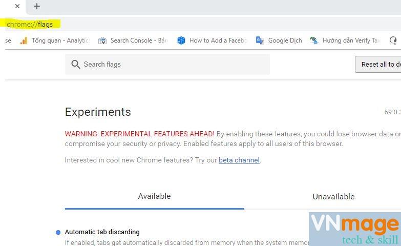 tắt chế độ reload tab đã mở trên Chrome