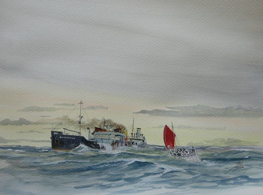 In the same Convoy as Beaverford and Jervis Bay, HX84, was the tanker 'San Demetrio'. Hit by several shells from Admiral Scheer, she was set on fire, abandoned by the crew, she drifted all night