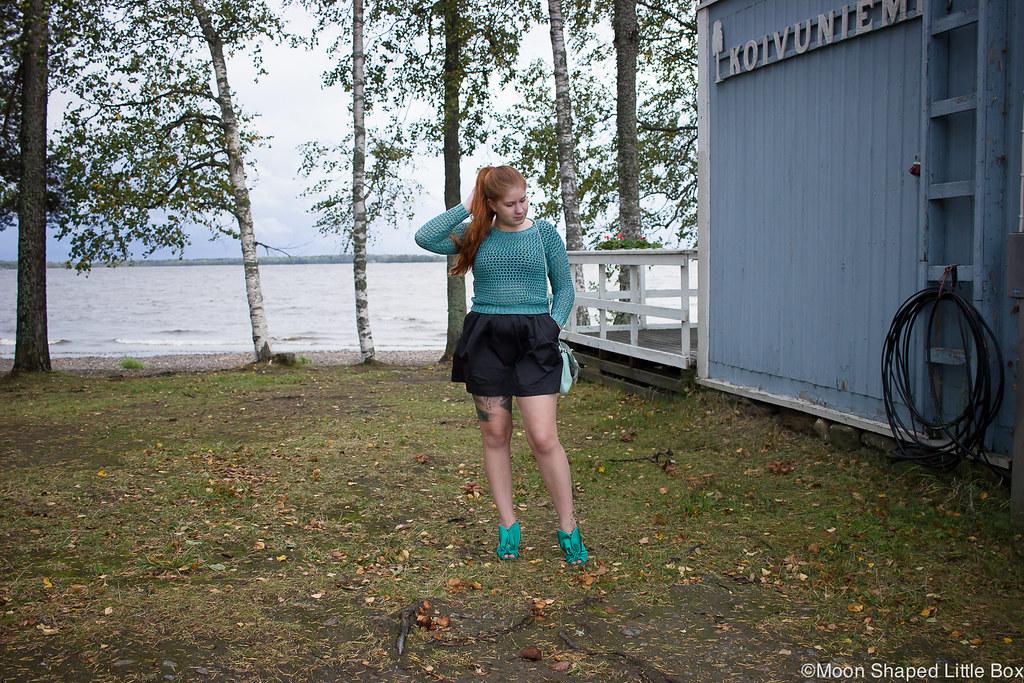 Numph neulepaita, minihame, Parikan kengät, Minna Parikka Blanche- kengät, tyylibloggaaja Joensuu, Joensuu, Koivuniemi, Koivuniemen ranta