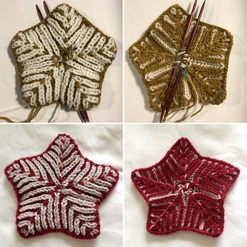 Connie successfully knit a brioche star (bottom pics) and I unsuccessfully knit one! Thank you Sandi for your help!