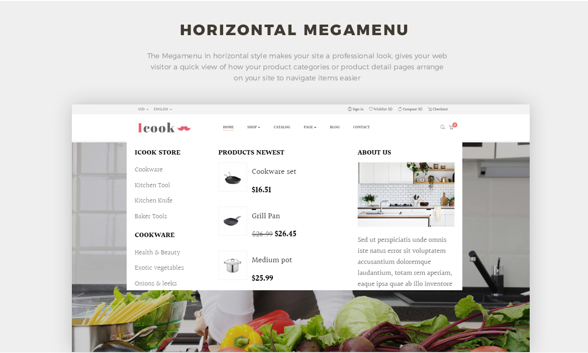 horizontal mege menu - Leo ICook Prestashop Theme - Kitchen Tool, Cookware, Kitchenware