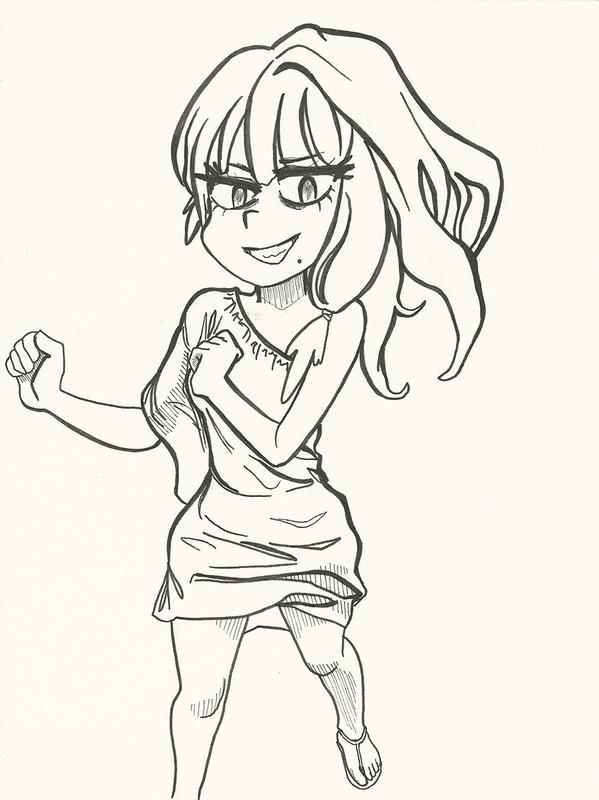 Sayumi Michishige anime-cartoon style linework Cropped resize