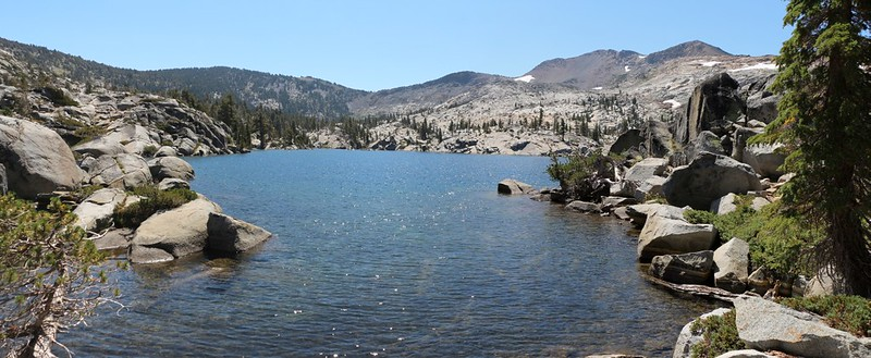 Fontanillis Lake with Dicks Pass, center, and Dicks Peak, distant right, from the Pacific Crest Trail