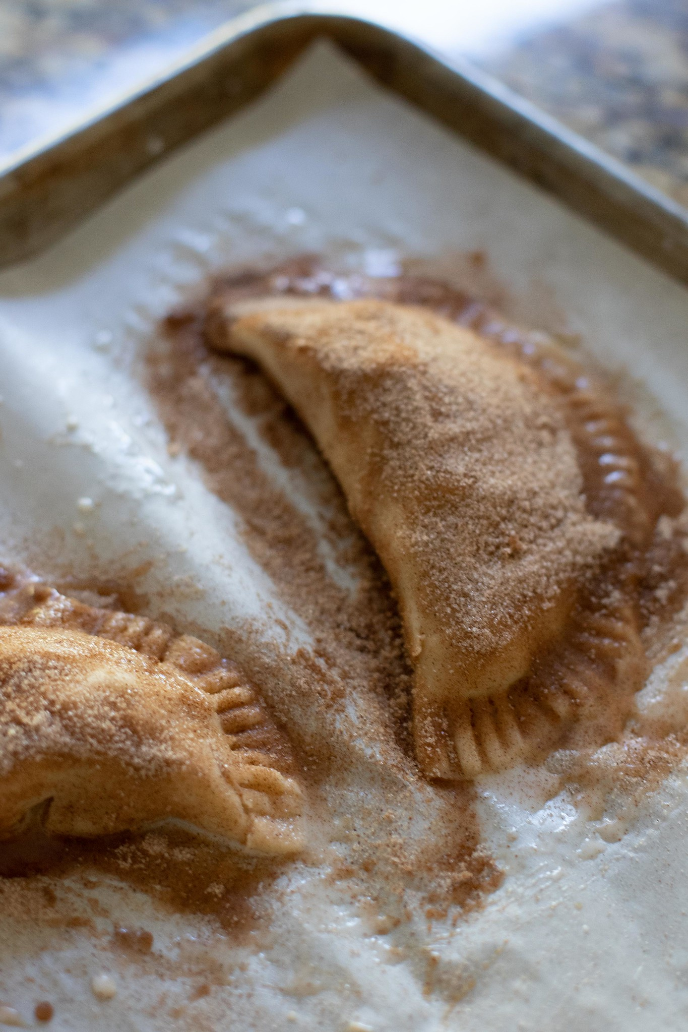 caramel apple empanadas ready for the oven