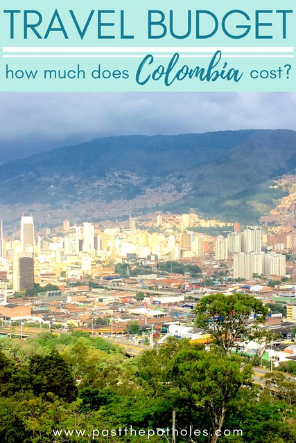 "Skyline of Bogota with text ""Travel Budget: how much does Colombia cost?"""