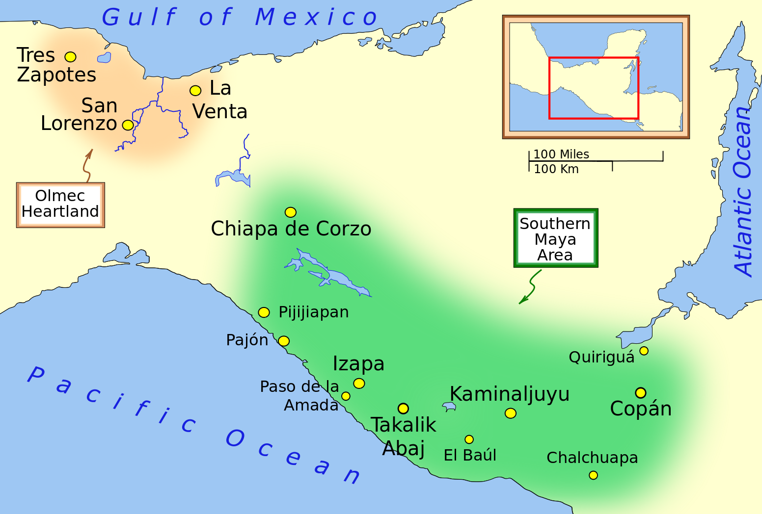 The southern Maya area, showing the locations of Quiriguá and Copán