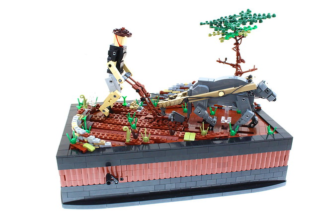 LEGO Ox Pulling Plow Kinetic Sculpture