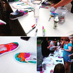 Making tie-dye shoes at our monthly craft club! #dplcrafts #dpl