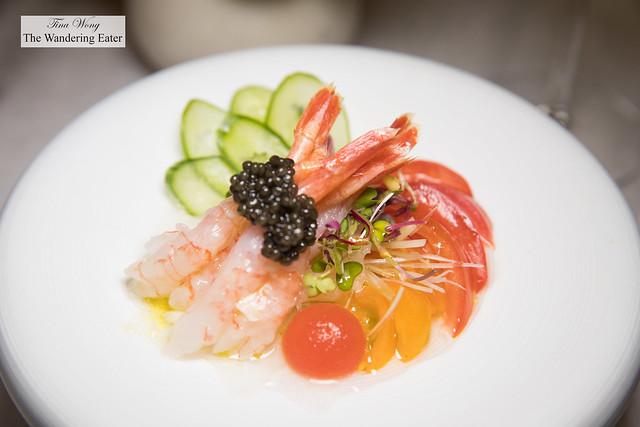 Sweet shrimp 단새우 샐러드 - sweet shrimp crudo salad with frozen tomato sphere and Korean pear, cucumber, scallion, and seaweed