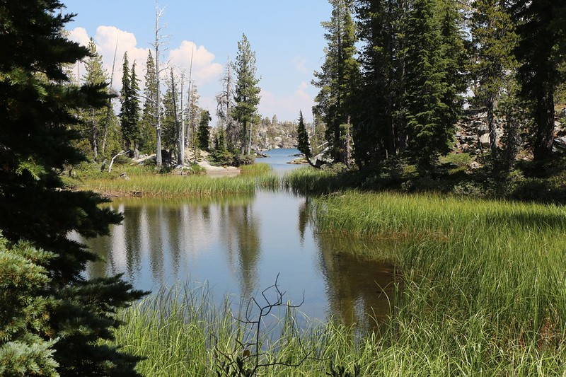 We get our first view of Middle Velma Lake where the Velma Lakes Trail intersects the PCT