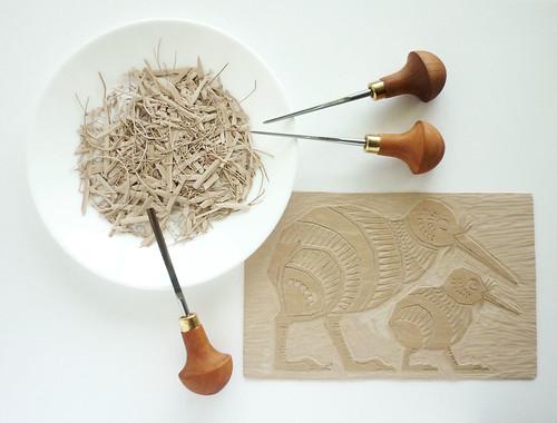 Kiwi - printing lino block