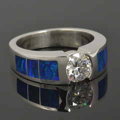 Lab Created Opal Ring with Moissanite Center Stone