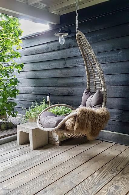 Hangstoel veranda vachtje Lia