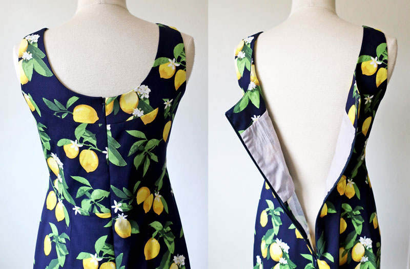 lemon dress back zipper and lining