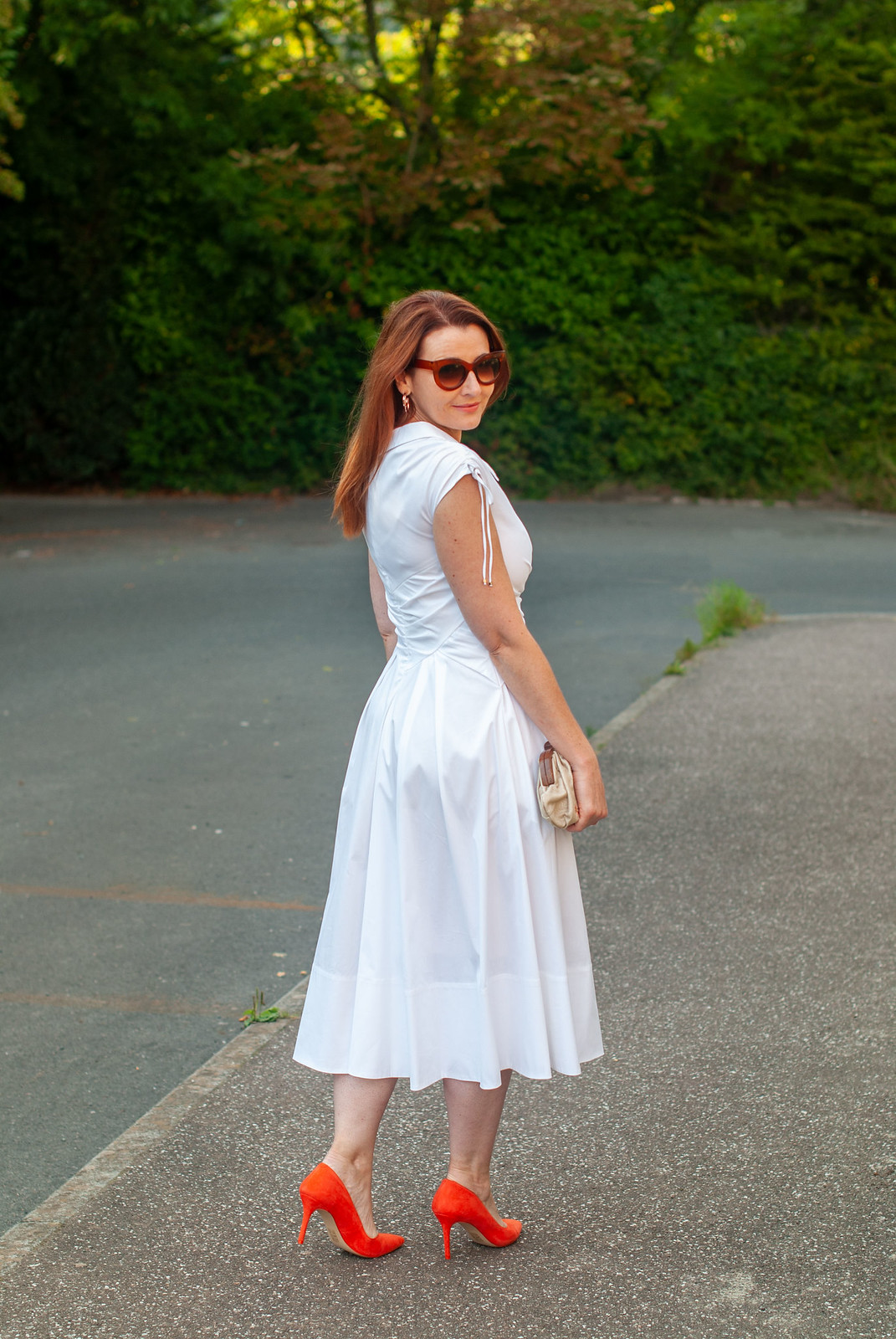 Channelling Marilyn Monroe in a White 1950s Style Dress With Orange Heels | Not Dressed As Lamb, over 40 style, over 40 fashion