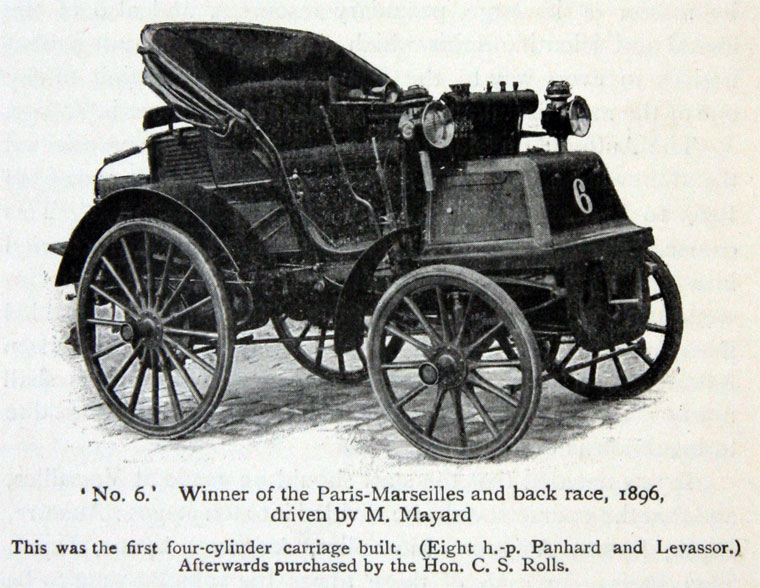 1896 - Panhard et Levassor of Émile Mayade - Winner of Paris-Marseilles-Paris. This new 4 cylinder model won seven of the ten stages in the hands of 3 different drivers.