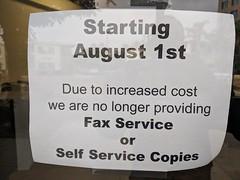 No faxing sign, copy shop,  Burbank, California, USA