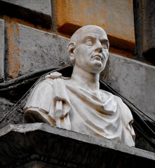 """""""Man portrait"""" - Classical sculpture, detail of the restored portal (1466) of the palace of Diomede Carafa in Naples"""