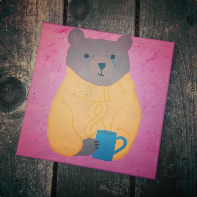 Cozy Autumn Bear Painting