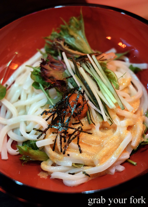 Mentaiko cream udon at Bang Bang Japanese Izakaya Bar in Steam Mill and Darling Square Sydney