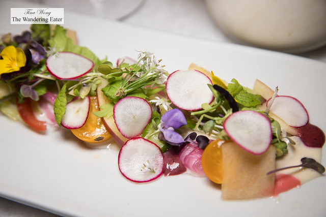Scallop Crudo 가리비냉채 - scallop, apple, asparagus salad with mustard dressing